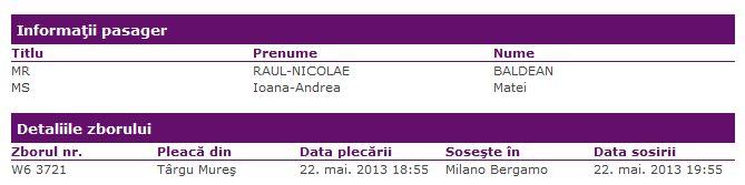 Wizz Air - Targu Mures - Milano