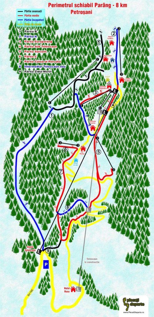 Harta 1 partii de ski Parang 2019