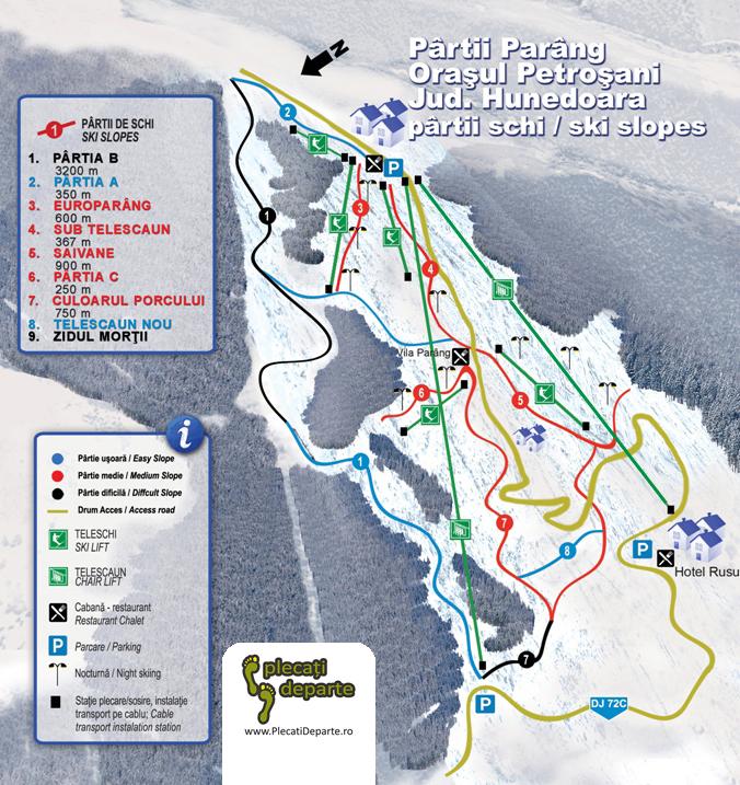 Harta 2 partii de ski Parang 2019